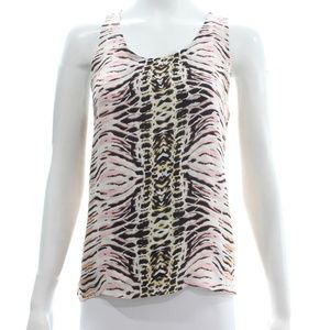 PARKER SLEEVELESS ANIMAL PRINT SILK TOP SIZE S